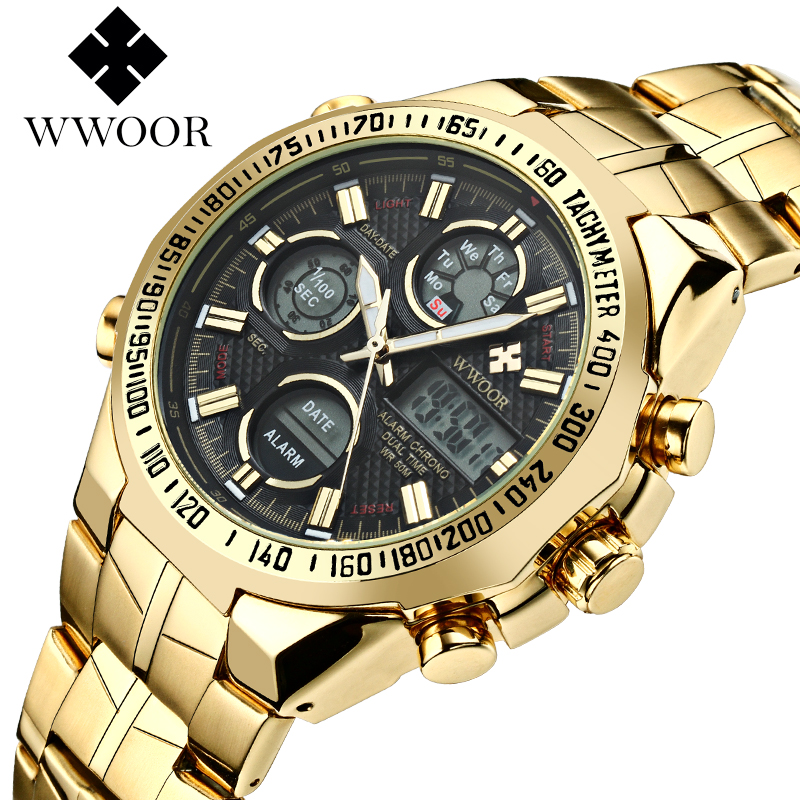 Top Luxury Brand WWOOR Men's Waterproof Sports Watches Men GOLD Clock Male Army Military Quartz Wrist Watch Relogio Masculino top luxury brand men military waterproof rubber led sports watches men s clock male wrist watch relogio masculino 2017