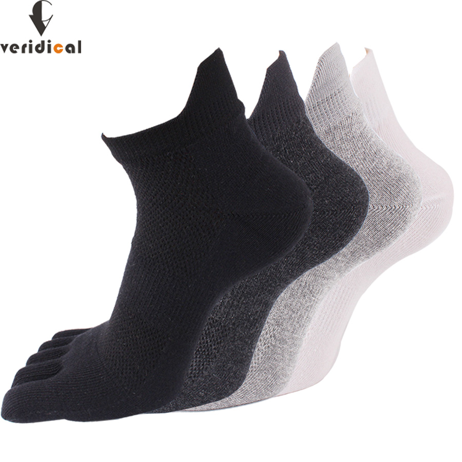 VERIDICAL 5 Pairs/lot Five Finger Socks Cotton Solid Protect The Ankle Socks With Toesmesh Breathable Compression Socks Brand