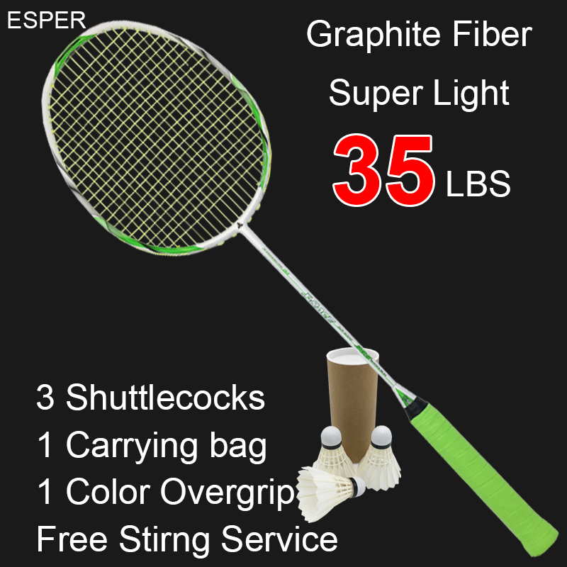 Esper Super Light Carbon Fiber Badminton Racket High Quality 4U Graphite Raquete Up 35LBS With String For Adult professional badminton racket n92 professional carbon fiber 4u high quality super light offensive badminton racquet string grip shuttlecock
