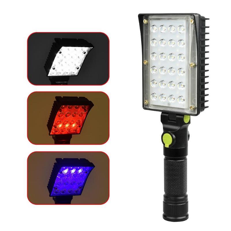 24COB+18 LED 90 Degree Work Light 4 Mode Handheld Inspection Working Lantern Warning Light