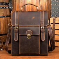 Crazy Horse Cowhide Men Backpack Genuine Leather Vintage Daypack Travel Casual School Book Bags Brand Male Laptop Bags