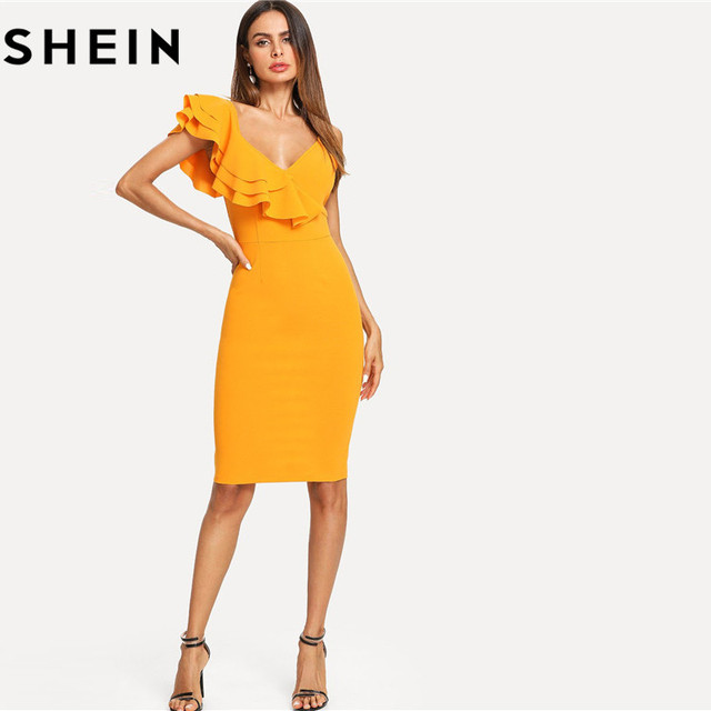 2db921f29d SHEIN Sleeveless Ruffle Layered Flounce Trim Split Back V Neck Party ...