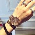 Relógio feminino Relógio de Quartzo-relógio de Alta Qualidade Relógio de Senhoras Cinta de Aço Inoxidável Cheio de grande personalidade broca Watchse Mulheres