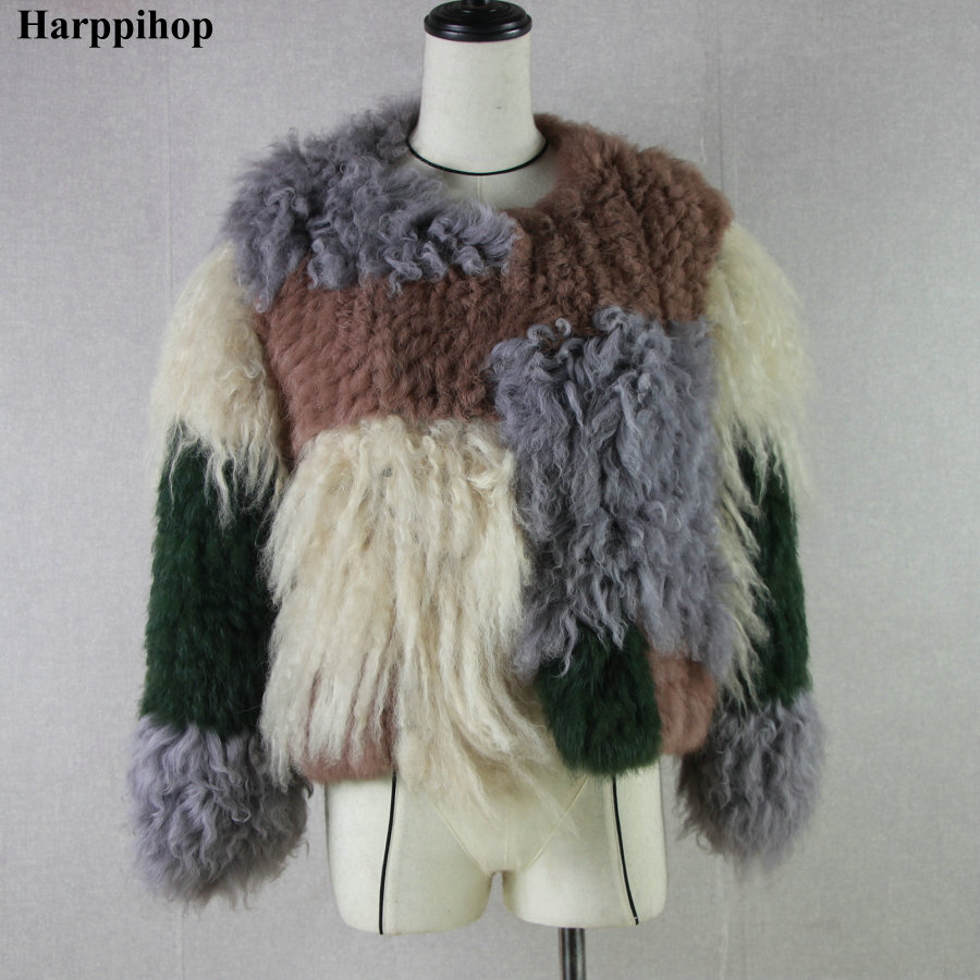 Rabbit Fur Mongolia Sheep Fur Lamb Fur Combined Knitted Winter Jacket Fur Coat Outerwear Short Style