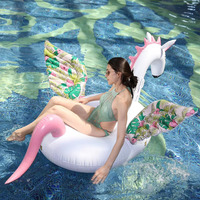 190CM Giant Inflatable Floral Printing Flamingo Pool Float Ride On Unicorn Swimming Ring Party Water Floating Toys Boia Piscina