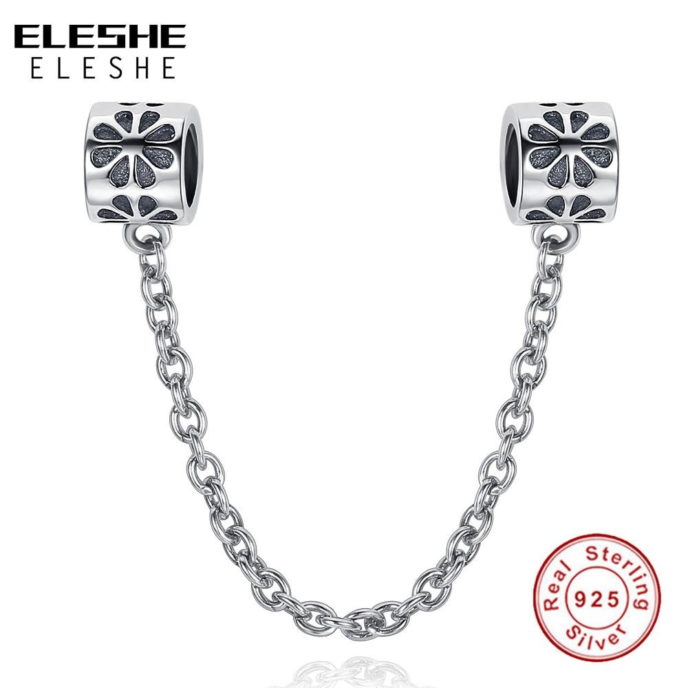 ELESHE 925 Sterling Silver Daisy Flower Safety Chain Beads Fit Origiral Pandora Bracelet Necklace DIY Charm
