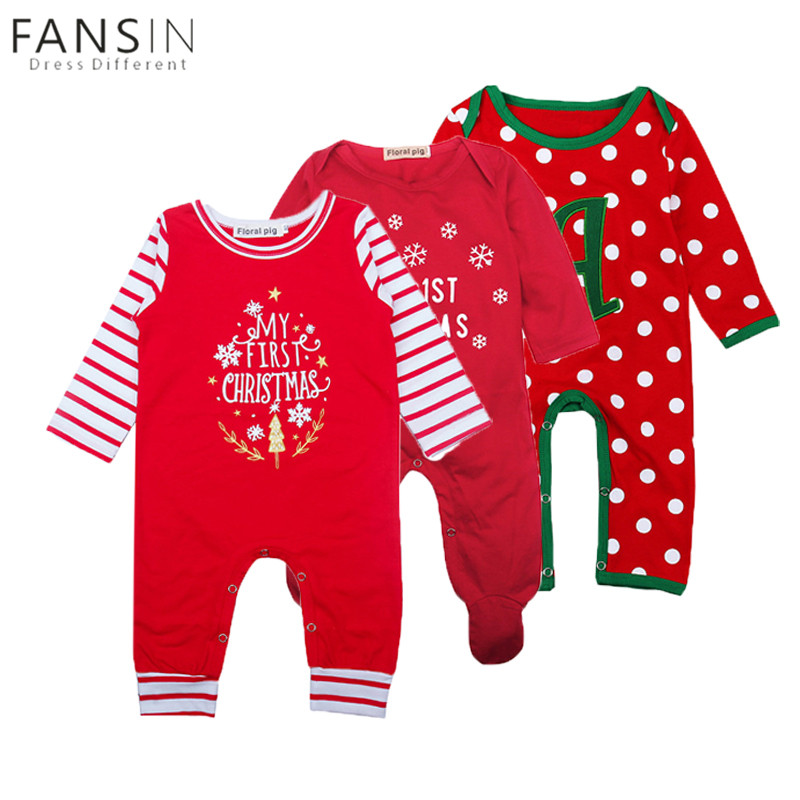 FANSIN Brand Newborn Baby Girls Boys Christmas Romper My First Christmas Winter Red Long Sleeve Baby Clothes Costume Clothing my christmas cd