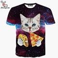 ZiLingLan Clothing Harajuku T-shirt Homme Hip Hop T-shirt Men 3D Print Cute Cat Eating Tacos Pizza In Space Men's Clothing
