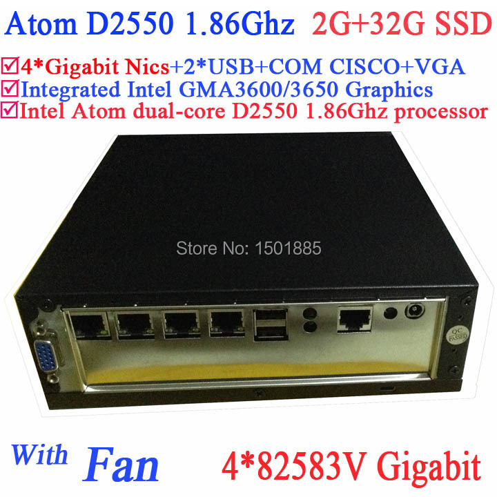 Intel ATOM D2550 Dual Core 1 86Ghz Small Desktop Firewall Server with 2G RAM 32G SSD