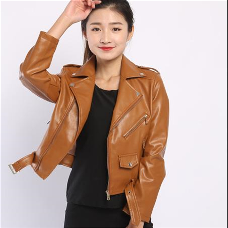 Woman Spring   Leather   Motorcycle Jackets Autumn   Leather   Coats Female Oversize Pu Jacket Slim Pu Motorcycle Coat Chaqueta De Moto