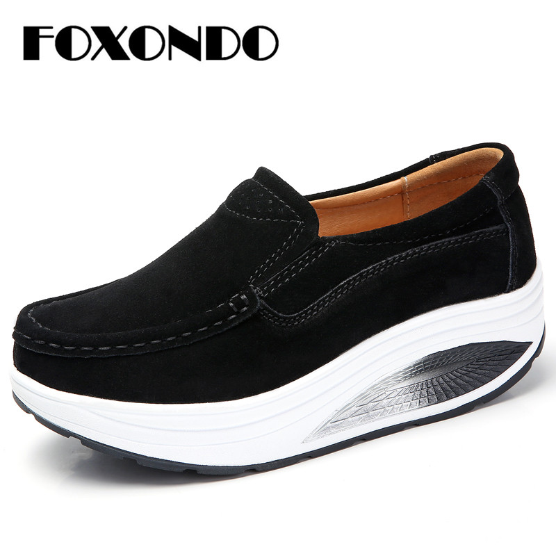 FOXONDO 2019 Autumn women platform shoes thick heel casual shoes   leather     suede   footwear women slip on flats creepers moccasins