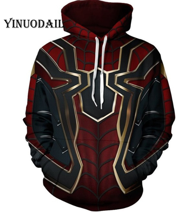 The Avengers Marvel Spiderman 3D Hoodies Men Streetwear Hip Hop Warm Hooded Sweatshirts Captain America Hoodies For Kids Boy