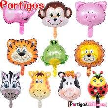 6/8/10 unids/lote Mini cebra Tigre Mono león ciervo vaca mariquita animales cabeza globos de aluminio Animal globos de aire suministros para fiestas temáticas