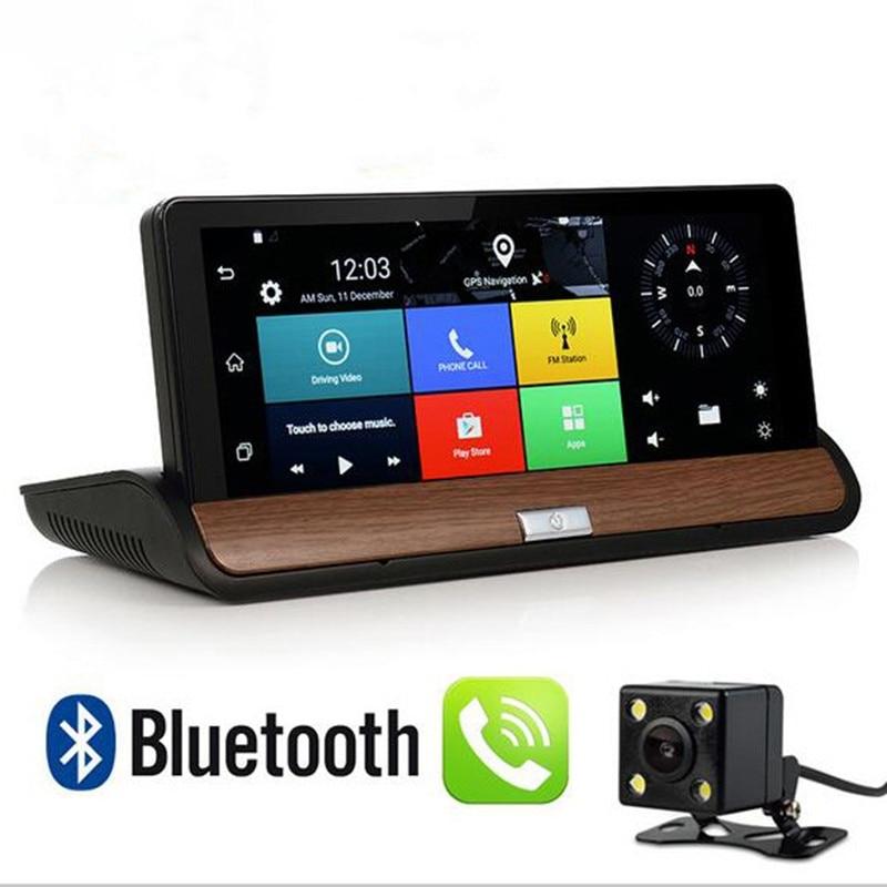 Ecartion 7 Android 3G Car Camera GPS Navigation Bluetooth Wifi Car DVR Video Recorder Dual Lens Full HD 1080P Dash Cam Parking