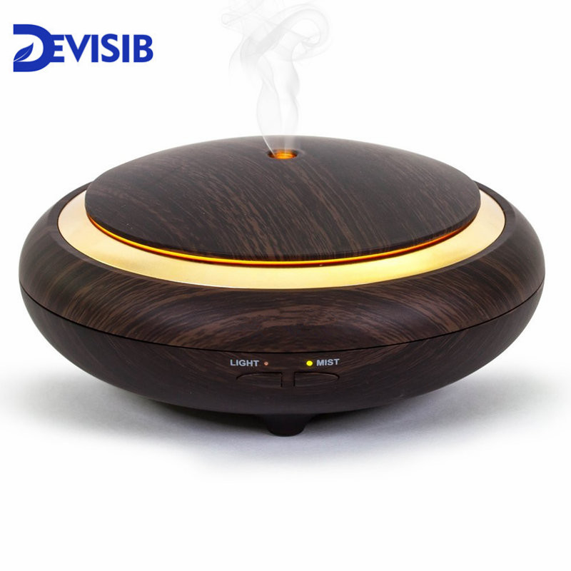 DEVISIB UFO Essential Oil Diffuser Wood Grain 150ml Ultrasonic Aroma Cool Mist Humidifier ForOffice Bedroom Baby Room Study Yoga