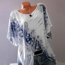 Spring S-5XL Plus Size Women Tops Summer Short Sleeve O Neck Floral Print Loose Blouses Casual Lace Fashion Tops Shirts Blouses casual red green 2019 new autumn plus size women s bottom shirts print long sleeves o neck fashion long blouses shirts 805a6
