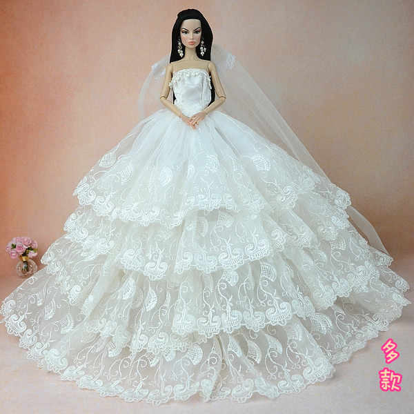 Original For Barbie Wedding Dress Doll Clothes Beautiful Palace 1 6 Bra Dresses Fashion In Dolls Accessories From Toys