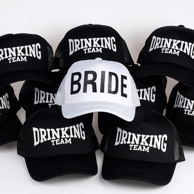 BRIDE DRINKING TEAM Print Baseball Caps New Style Hats Women Wedding  Preparewear White Black Bachelor party Summer Lovers Hats aca2439a09bc