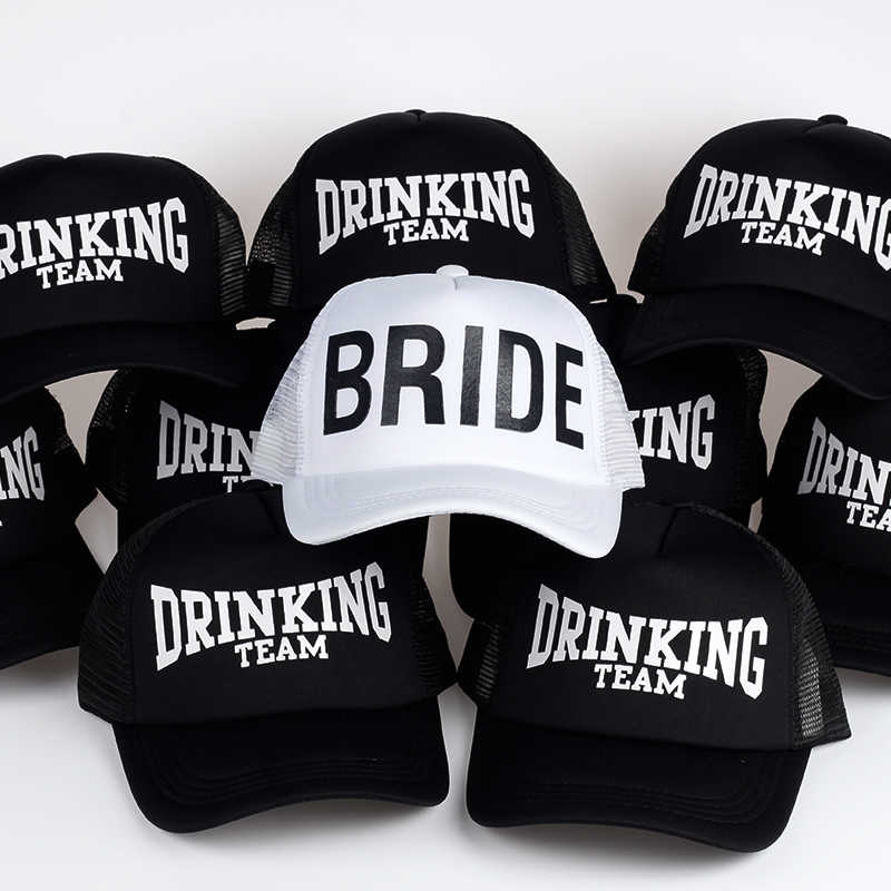 5b995401759 BRIDE DRINKING TEAM Print Baseball Caps New Style Hats Women Wedding  Preparewear White Black Bachelor party