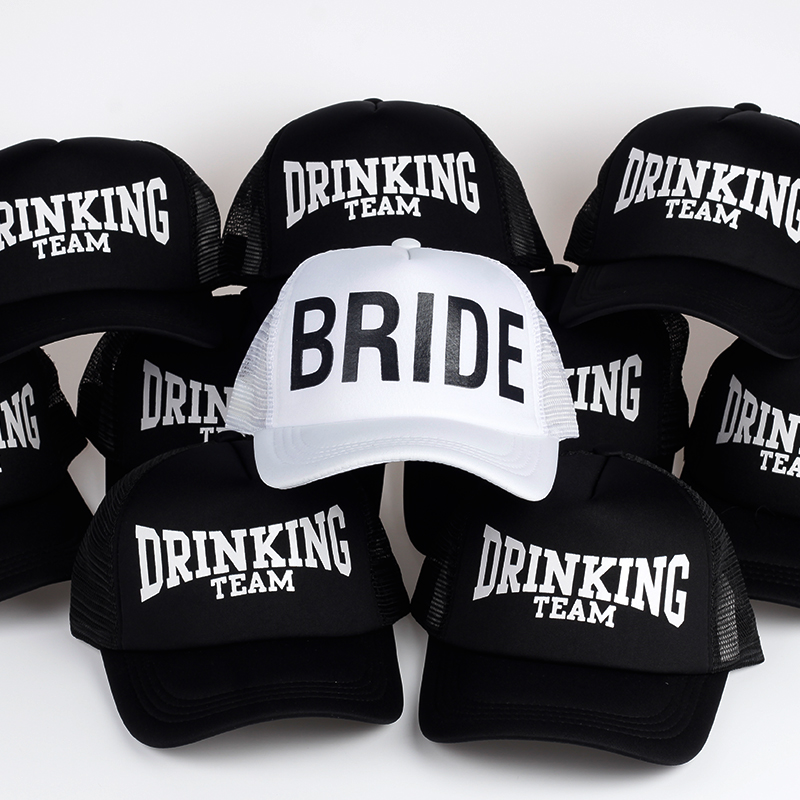 BRIDE DRINKING TEAM Print   Baseball     Caps   New Style Hats Women Wedding Preparewear White Black Bachelor party Summer Lovers Hats