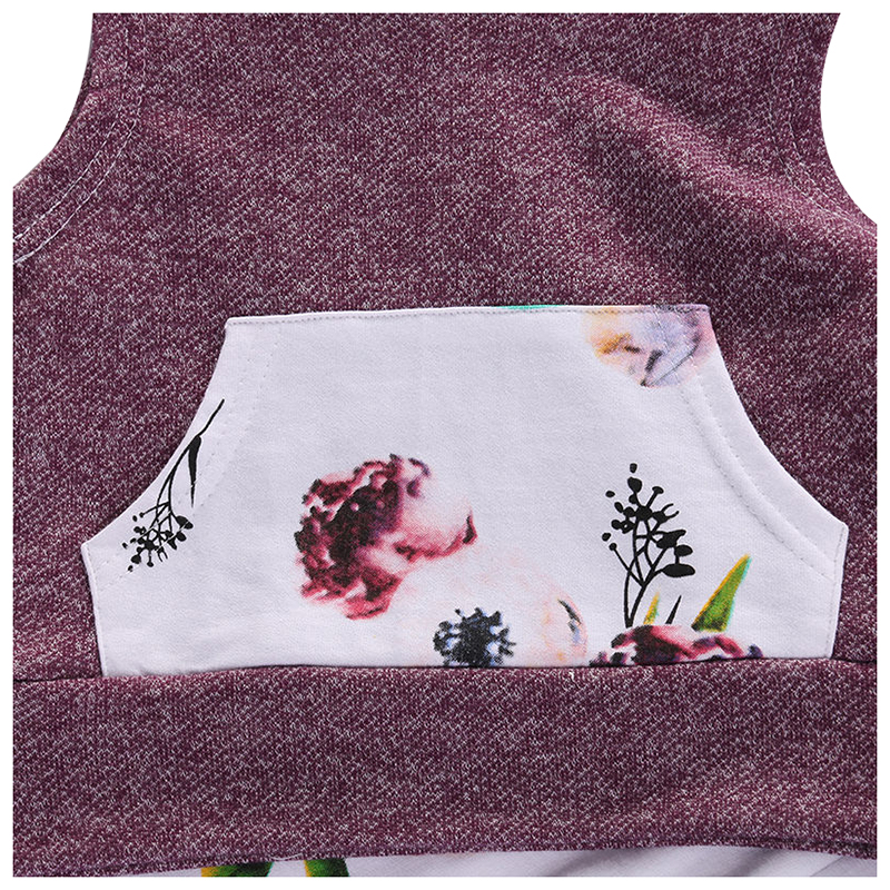 ABWE Best Sale Floral Girl Hooded Tops Long Pants Leggings Clothes Outfits Set Size:# 70 Fit 3-6M