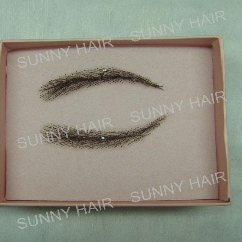 cabelo humano feito a mao falsa sobrancelha 012 preto cor natural forma 01