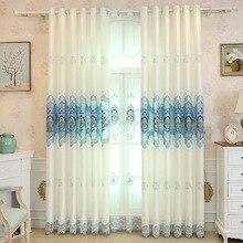 Popangel Высокое качество Роскошные Простой Элегантный белый основной вышивка готовые окна шторы для гостиная индивидуальные шторы