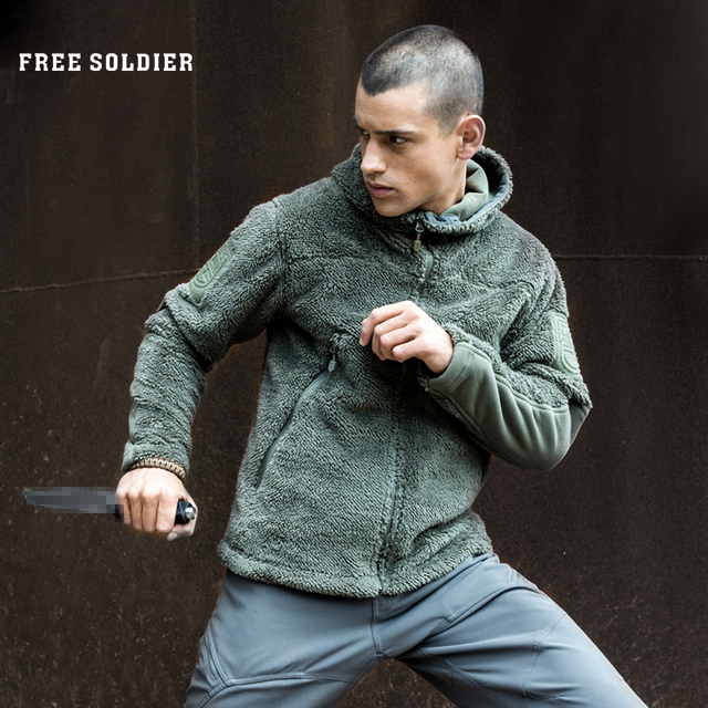 FREE SOLDIER outdoor tactical sweatshirt with fleece out, heat-preserving outerwear, camping, hiking jacket