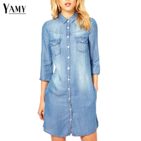 NEW Denim Dress Women 2016 Single Breasted Long Denim Blouse Shirt Plus Size Women Jean Dress