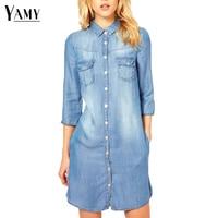 NEW Denim Dress Women 2016 Single Breasted Long Denim Blouse Shirt Plus Size Women Jean Dress