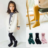 2018 New Spring & Autumn Children's Pantyhose 0-12Y Baby Girls Leggings Pure Color Hemp Flower Cartoon Animal Embroidery