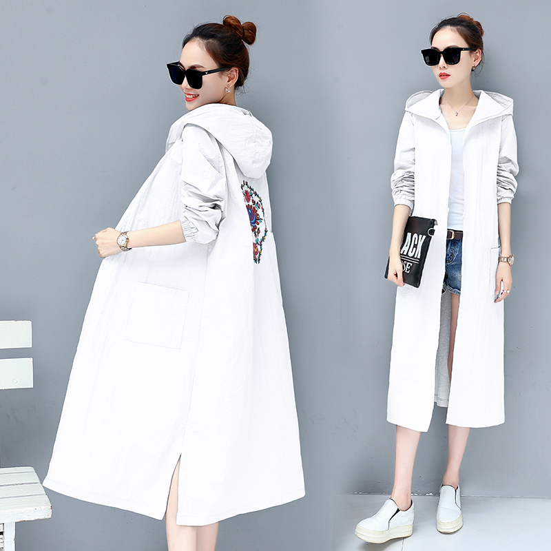 With Hat Back Embroidery 2018 Womens Coat High Quality Autumn And Spring Long   Trench   Coat For Women Windbreaker Maxi 3XL