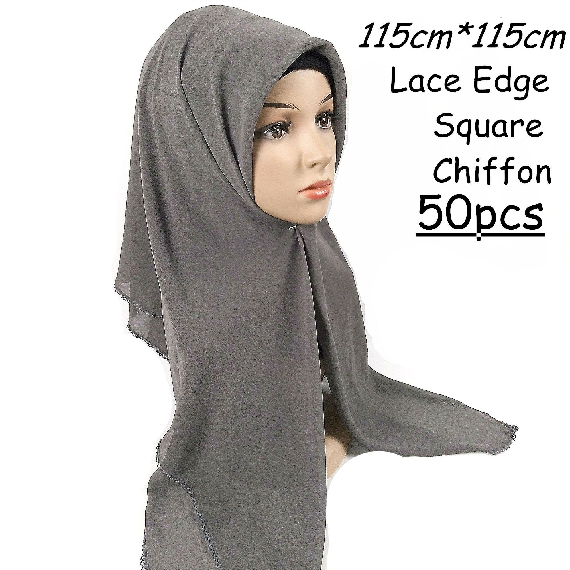 Quente a Venda Escolher as Cores Alta Qualidade Lace Praça Bolha Chiffon 115*115 Centímetros Envoltório Hijab Mulheres Xales Cachecóis Cachecol Pode w6 50pcs