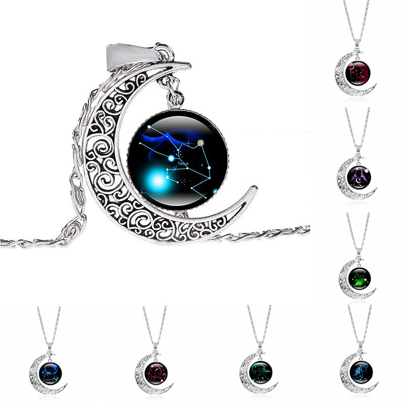 Hot Sale Charming Creative Dreamlike Silvery Moon 12 Constellation Pendant Women Girls Time Stone Necklace