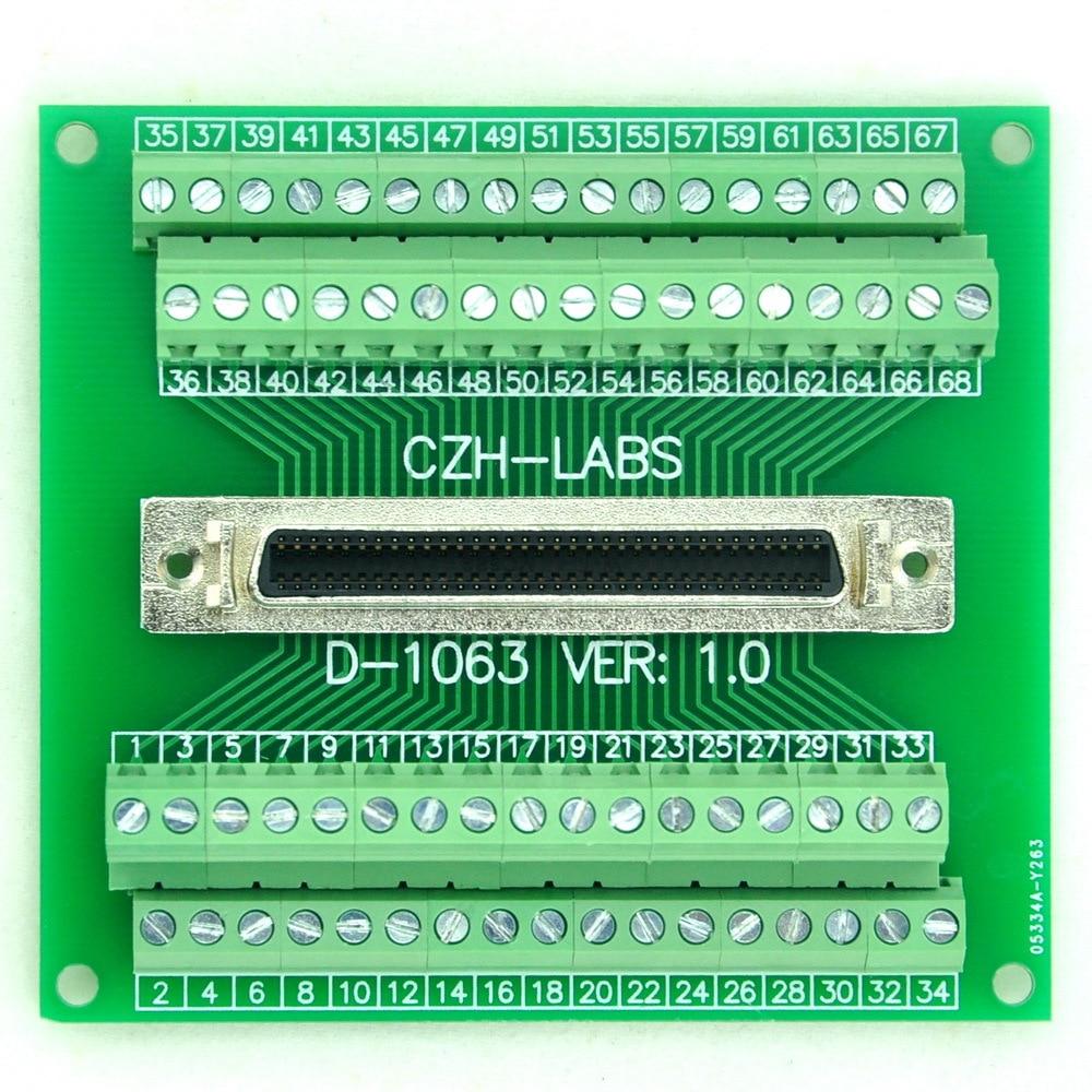 """68-pin 0.05"""" Mini D Ribbon/MDR Female Breakout Board, SCSI, Terminal Module."""
