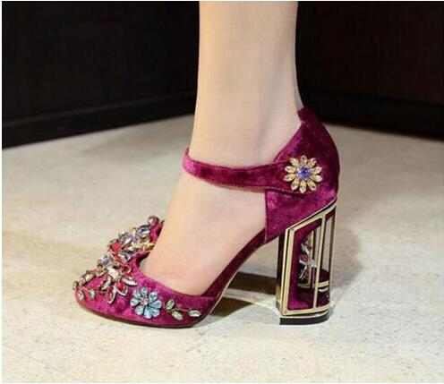 Buckle Colorful Crystal Women High heel Shoes Red/Purple/Black suede leather Flower Pumps Hollow heel Belt pumps  Hot Selling flower collection colorful embellished floral print buckle women pumps gladiator 3d flower shoes elegant ladies led shoes