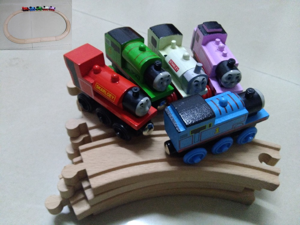 5PCS Thomas Trains+Wood Railway Track/12PCS Thomas and Friends Wooden Trains Model Magnetic Train Toys Gift for Kids Children стоимость