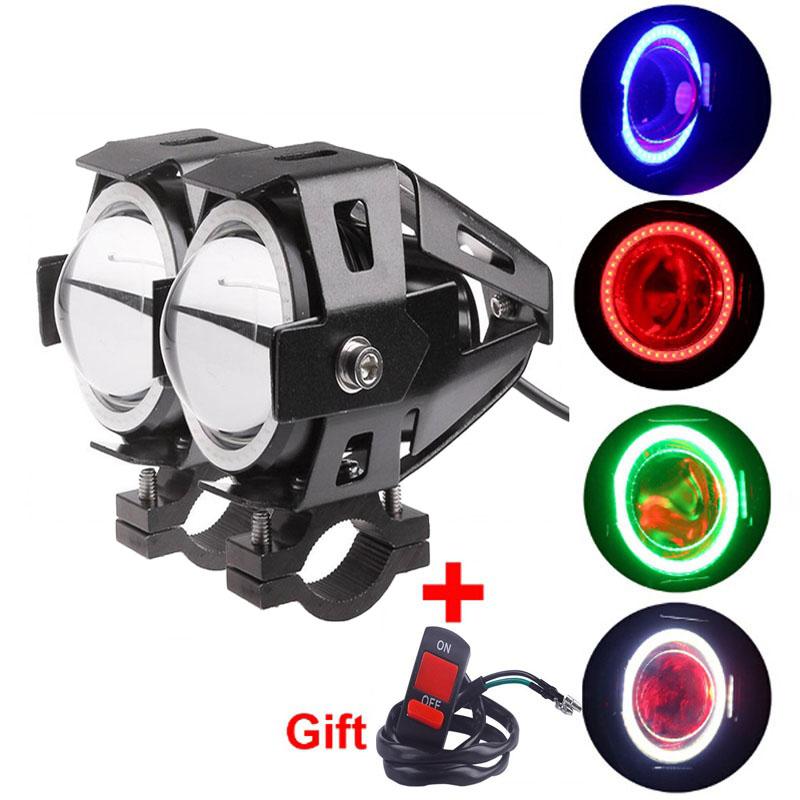 Prix pour 2 pcs Moto LED Phare de Lumière de Brouillard avec 1 pc commutateur comme cadeau pour U7 125 W 3000LM Diable Angel Eye DRL Moto Spot light