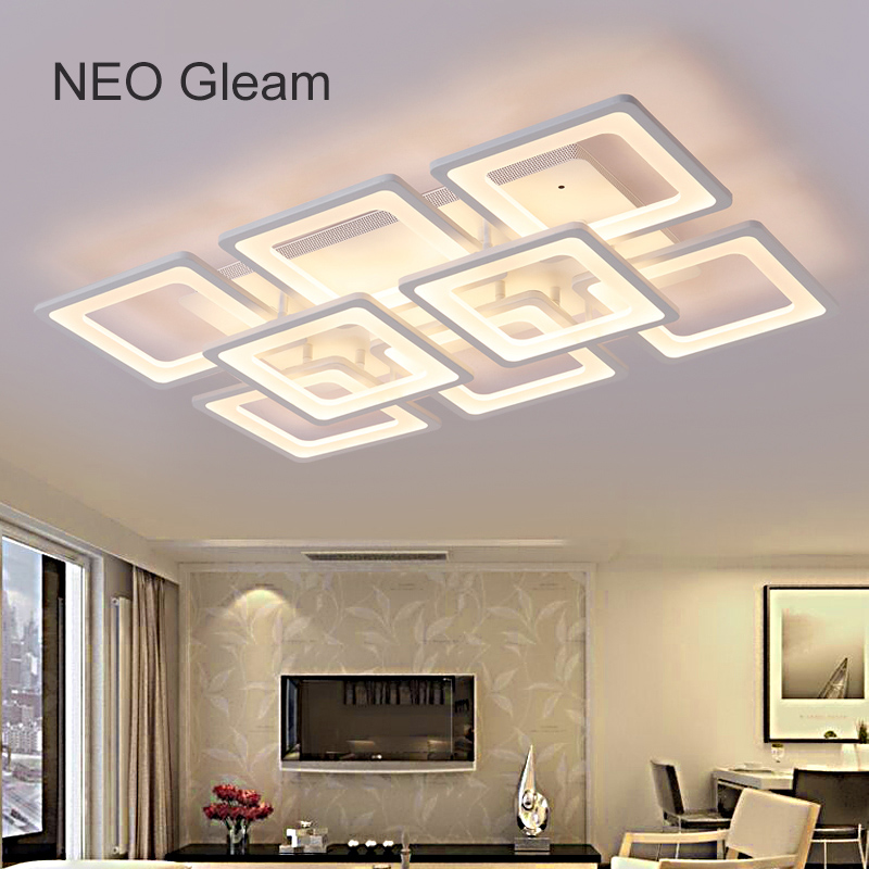 NEO Gleam Rectangle Remote control living room bedroom modern led ceiling lights luminarias para sala dimming led ceiling lamp