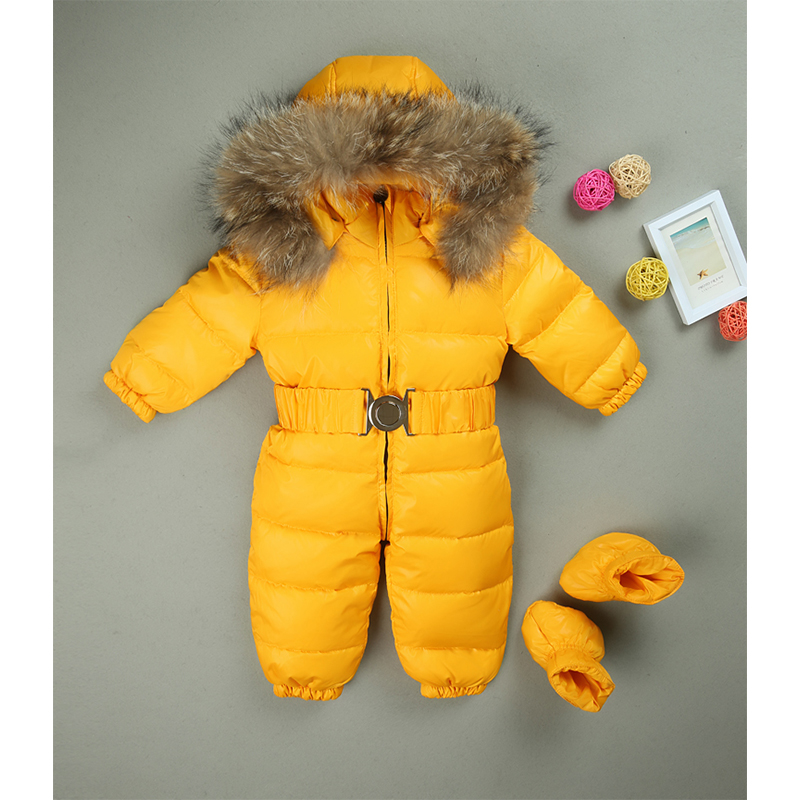 Baby Snowsuit 2017 winter Baby Boys Girls Rompers Warm Overalls fur Hooded Newborn Clothes Parka Thicken Down Jumpsuit I15 kids winter overalls for girls 2017 newborn clothes infant cartoon baby boys hooded rompers thicken warm cotton baby snow suits page 2