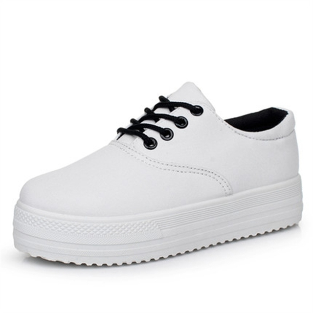 2017 Spring and summer platform white low canvas shoes female casual shoes for lady brand shoes black board shoes