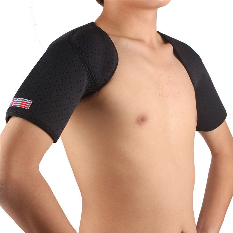 ShuoXin SX641 Sport Double Shoulder Brace Breathable And Comfortable Black Support Strap Wrap Belt Sportswear For Sports Safety