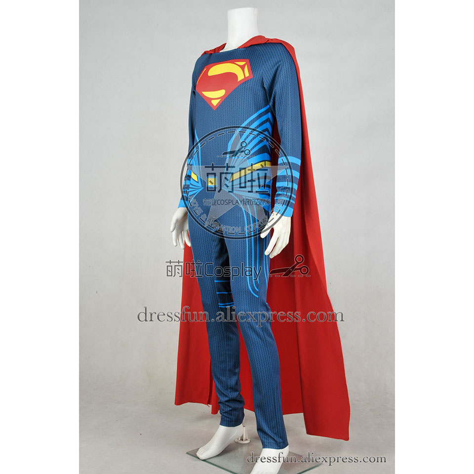 Batman v Superman Dawn of Justice Cosplay Clark Kent Costume Uniform Blue  Jumpsuit Red Cape Halloween High Quality Male Outfits-in Movie & TV costumes  from ...