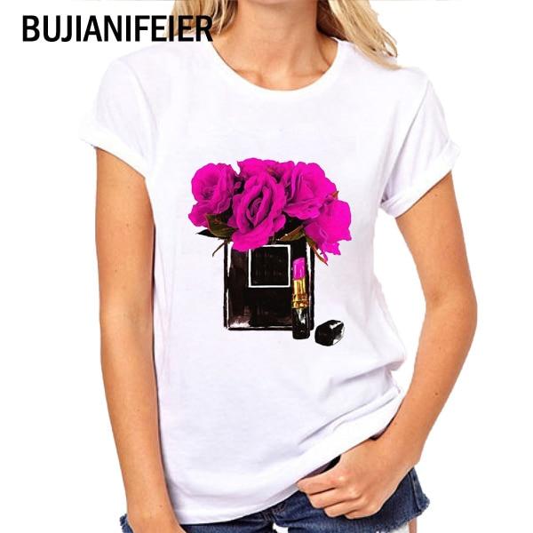 BJN144 NEW 2019 SUMMER slim fit white t shirts VOGUE print white Short Sleeve T-shirts Princess BUJIANIFEIER
