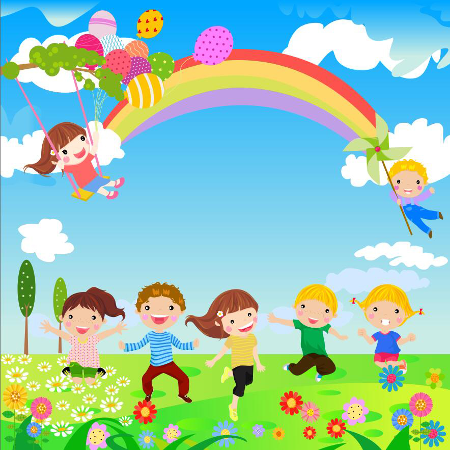 10x10FT Cartoon Clouds Blue Sky Rainbow Kindergarten Green