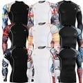 2016 Camadas de Base Collants Musculação para o Sexo Masculino Engrenagem MMA Superman Roupas de Compressão Camisa 3D Prints Estiramento Da Pele Encabeça Tee
