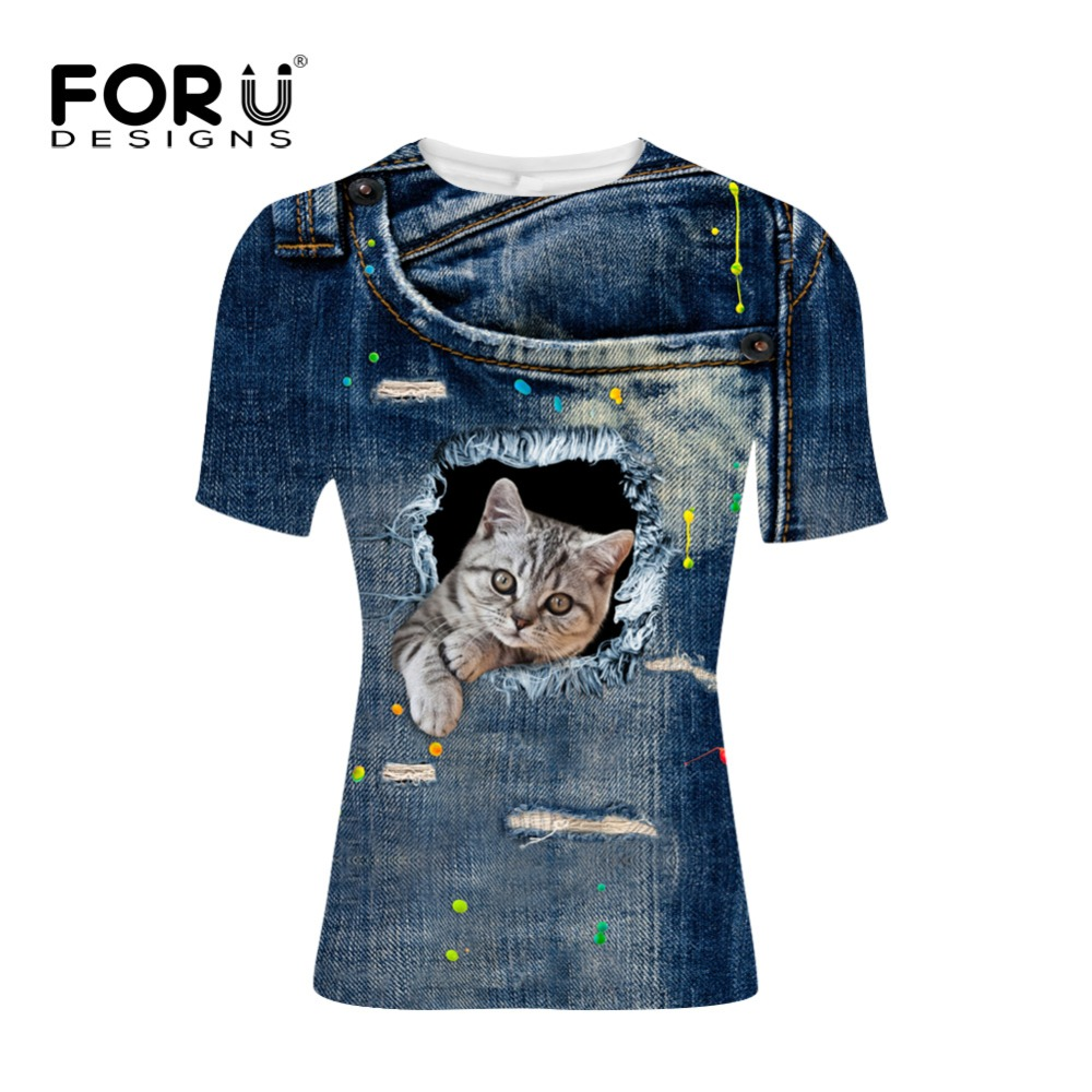 FORUDESIGNS Men 39 s brand clothing 2017 high quality O Neck short sleeve T shirt 3D Jeans Cat Digital Print T shirt for men Homme in T Shirts from Men 39 s Clothing