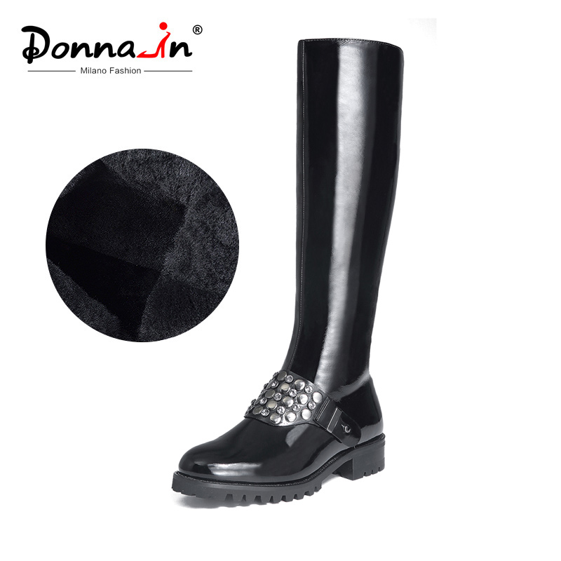 Donna-in Knee Boots Women Platform Cow Patent Leather High Female Booties Round Toe Mid Heel Rivet Black Winter Boots for Women