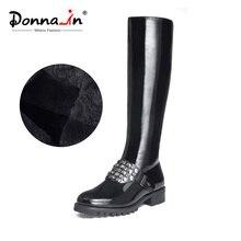 Donna-in/женские сапоги до колена на платформе из коровьей лакированной кожи, женские сапоги с круглым носком, на среднем каблуке, с заклепками, черные зимние сапоги для женщин