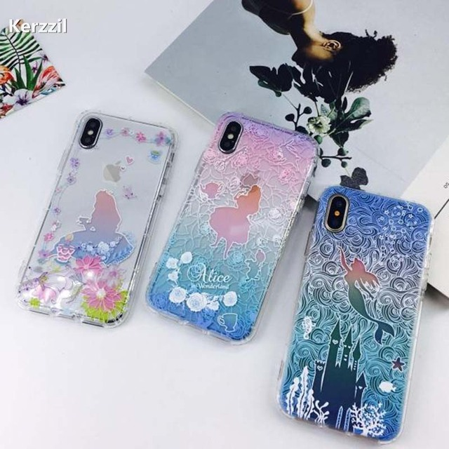 sale retailer 3ebb2 e7a6f US $1.99 |Kerzzil 3D Relief Princess Mermaid Flowers Phone Cover For iPhone  X Cute Cartoon Soft Phone Cover Back Cases For iphone X Coque-in Fitted ...